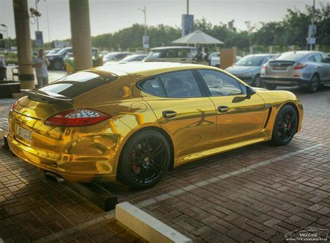 porsche gold gold wrapped panamera