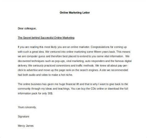 marketing letter template word excel
