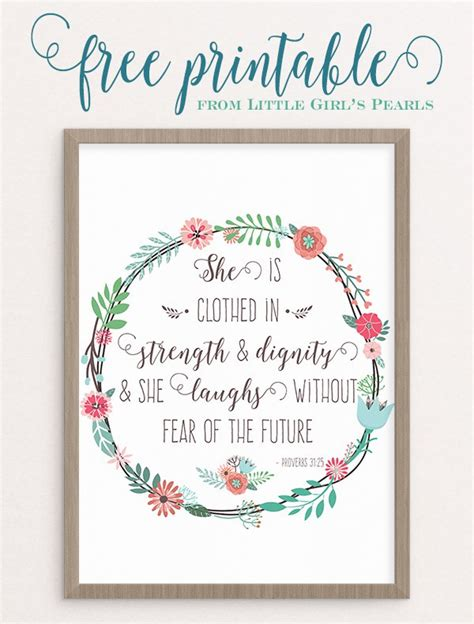 printable quotes about strength strength and dignity free printable little girls pearls