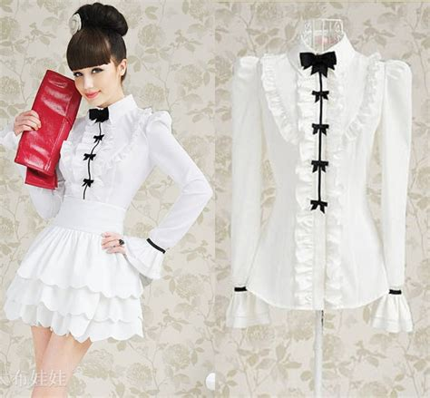 Sweet Bow Blouse Black White Size L 19052 free shipping womens sweet white lotus leaf black bow slim sleeved blouse 10054 jpg