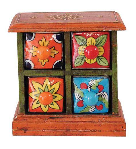 Colorful Spice Rack Colorful Wooden Spice Rack With Four Drawers By Villcart