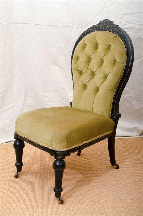 tufted back slipper chair ebonized tufted back slipper chair for