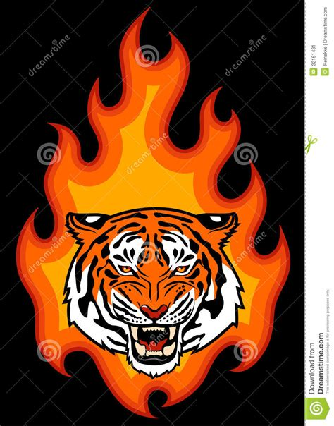 tiger and fire stock image image 32151431