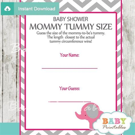 Free Pink Elephant Baby Shower Printables