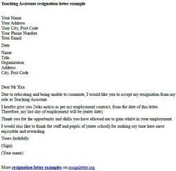 Teaching assistant resignation letter example resignletter org