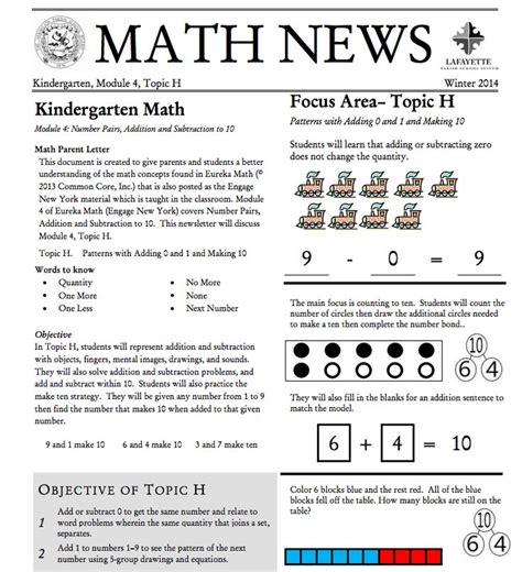 Parent Letter Eureka Math Kindergarten Module 4 Topic H Parent Newsletter Developed By Eureka Math Users Lafayette