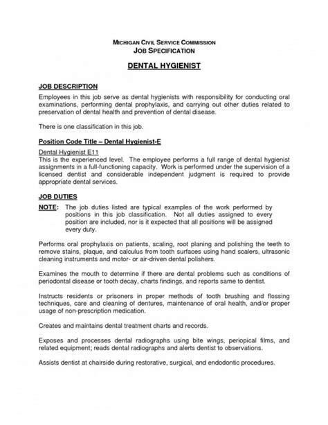 resume tips for dental hygienists job description