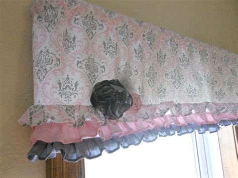 Pink And Grey Valance Ruffled Valance Pink And Gray Damask Window Treatment