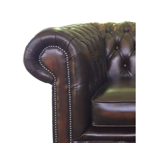Real Leather Chesterfield Sofa by Chesterfield Antique Brown Genuine Leather Club Chair