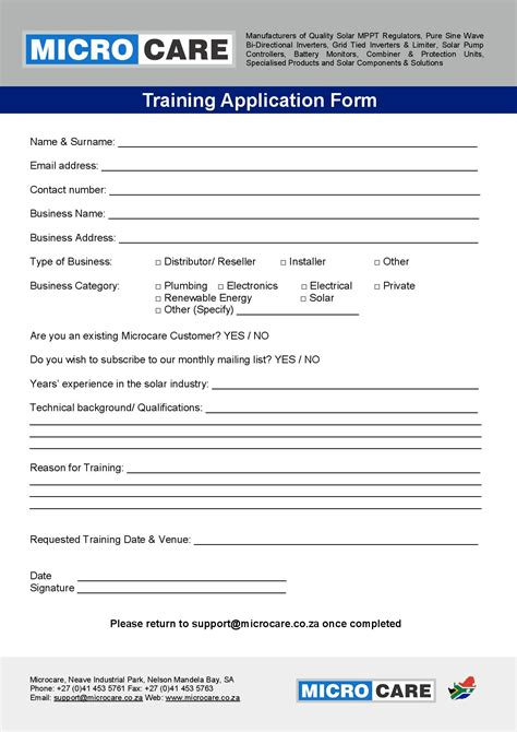 application form microcare solar components