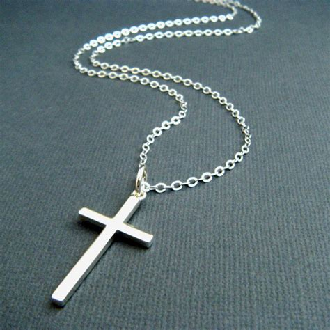 silver cross necklace large sterling by limegreenmodern