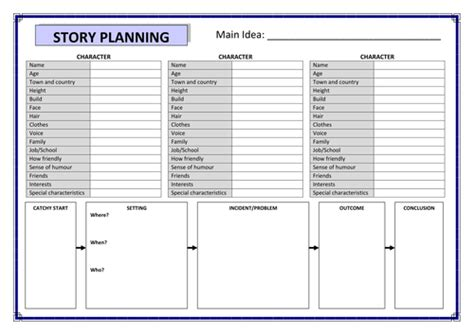 story planner template pritchardlucy profile tes