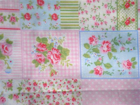 Patchwork Print Fabric - roses and gingham printed patchwork fabric fq or more