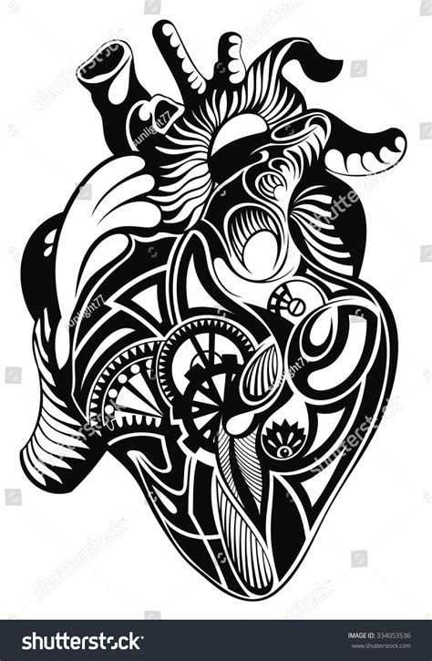 heart tattoos vector human heart vector heart illustration tattoo stock vector