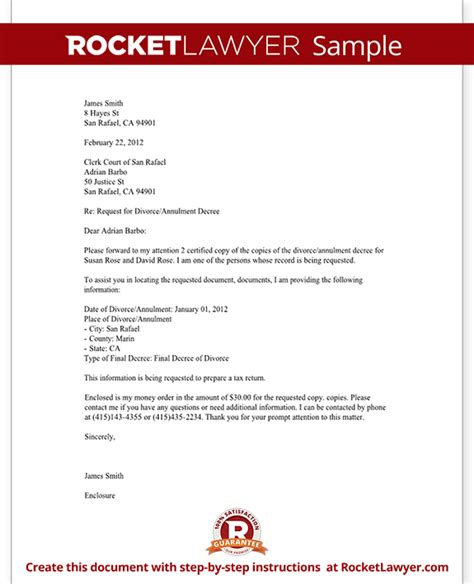 Divorce Offer Letter Divorce Records Request Letter Template With Sle