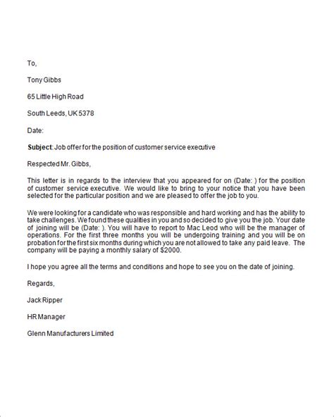 business letter template offer offer letter 9 free for word