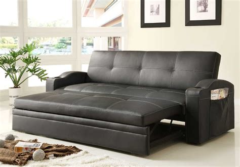 Leather Pull Out Sofa Bed Novak Black Leather Sofa Bed With Pull Out Trundle Sofa Beds He 4803blk 8