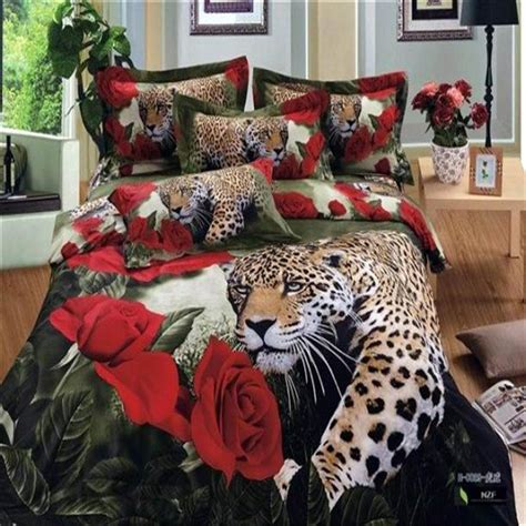 Aliexpress Com Buy 3d Leopard Red Rose Bedding Set For Cheetah Bedding For