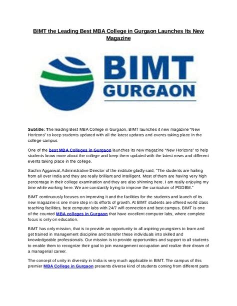 Current Openings In Gurgaon For Mba by Bimt The Leading Best Mba College In Gurgaon Launches Its