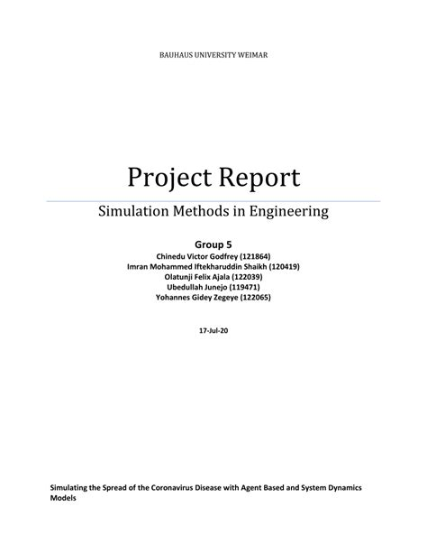 (PDF) Project Report Simulation Methods in Engineering