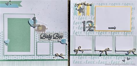 Handmade Baby Albums - whimsy handmade baby boy album stin buds with ctmh