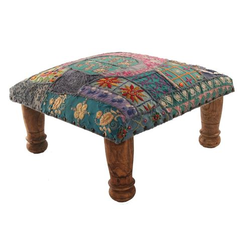 Patchwork Footstool - footstool turquoise patchwork