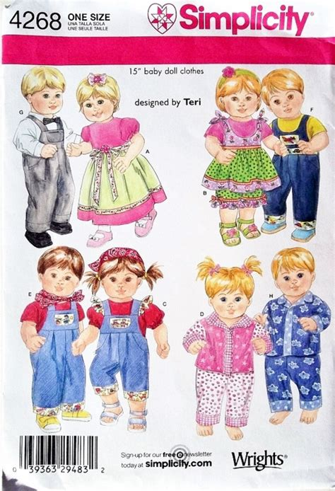pattern for doll clothes 15 inch 15 inch twin doll clothes pattern boy girl doll clothes
