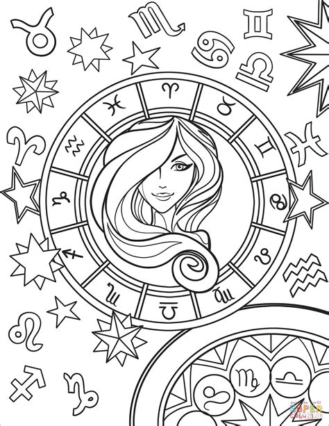 virgo zodiac sign super coloring cool coloring pages