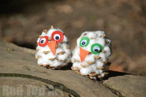 Tippytoe Crafts Pine Cone Snowy Owls - snow owl pine cone craft for ted s