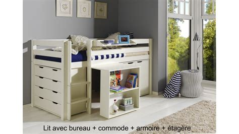 lit combine bureau lit enfant combin 233 bureau et rangement theo en pin massif