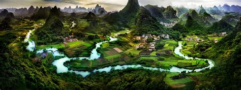 guilin china asia panorama nature town village hd wallpaper
