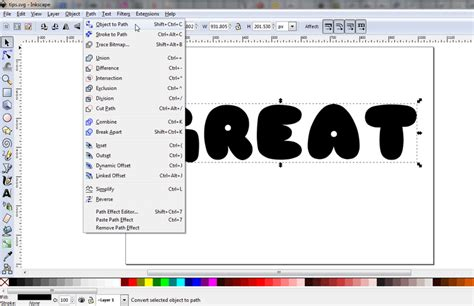 inkscape tutorial arched text convert text to paths in inkscape