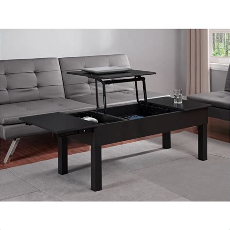 black lift coffee table altra furniture parsons lift top coffee table in black