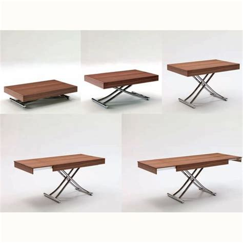 Coffee Dining Tables The Passo Is A Transforming Coffee Table With Glass Wood Top And Metal Frame Adjustable To