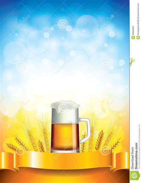 mug design background vector beer mug on wheat field background stock vector image