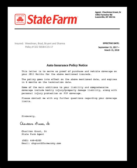 State Farm Proof Of Insurance Card Kentucky Template by Policy Letter Sted Or Notarized Documents