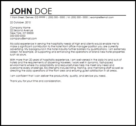 Front Office Manager Cover Letter free hotel front office manager cover letter templates