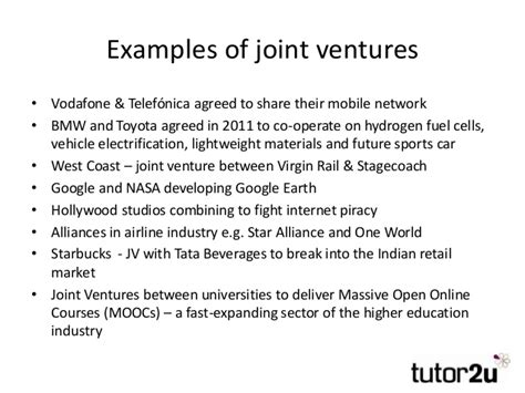 exle of joint venture business growth takeovers and mergers