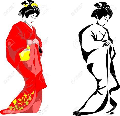 geisha clipart japanese pencil and in color geisha