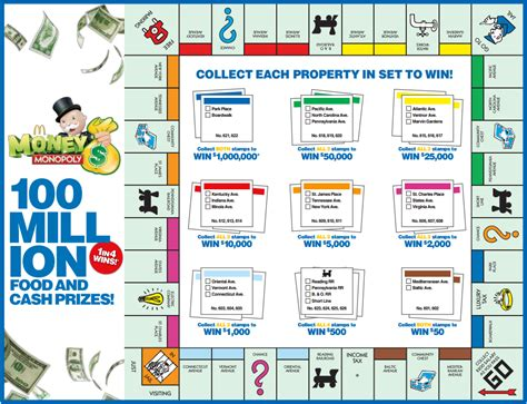 printable board game download download mcdonalds monopoly board for 2018 print money