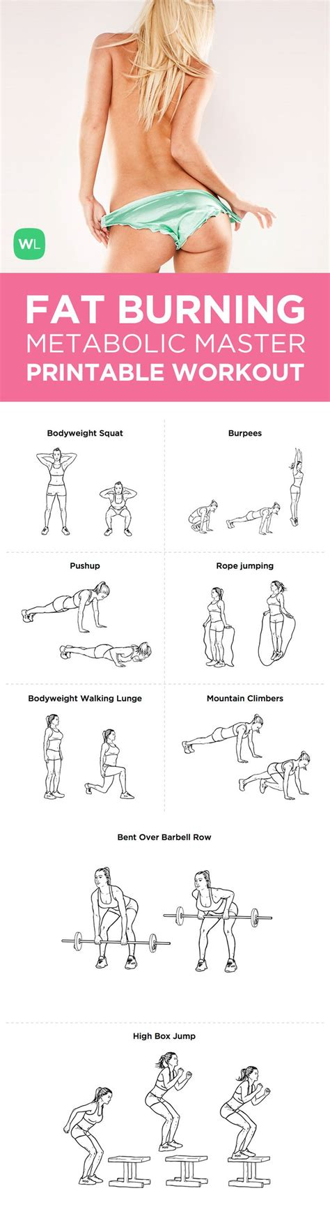 printable exercise routines for weight loss fat burning workout fitness pinterest