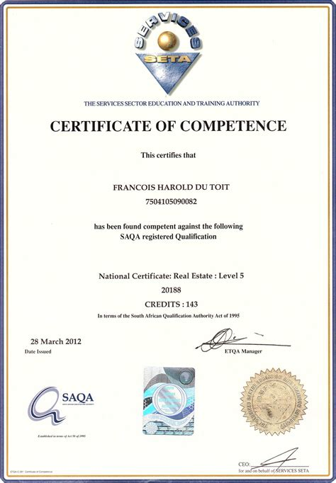 certificate of competency template sapropertylink real estate agents in cape town