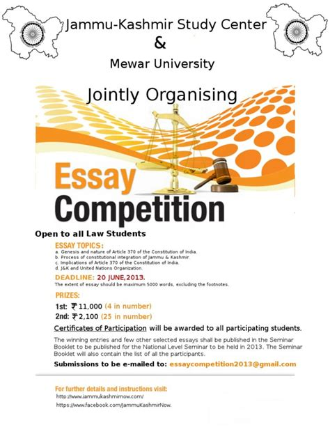 Essay Writing Competition by Essay Competition On Quot Jammu And Kashmir Article 370 United Nations Quot