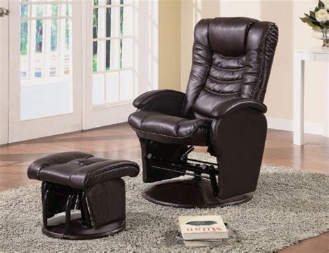 Coaster Swivel Recliner by Coaster Swivel Glider Recliner Ottoman Brown Leatherette