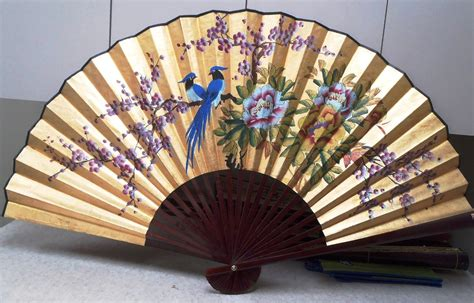 Large Oriental Vase Large Hand Painted Chinese Wall Fan Of Lovebirds On A Cherry