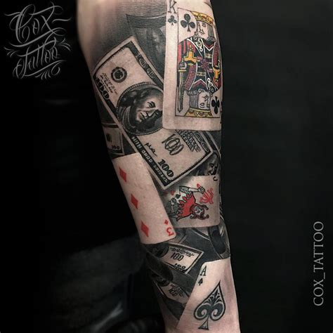 poker tattoo with playing cards amp money best tattoo
