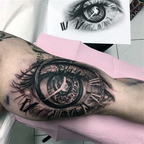 tattoo eye and clock 3d eye clock roman numeral mens bicep tattoo designs