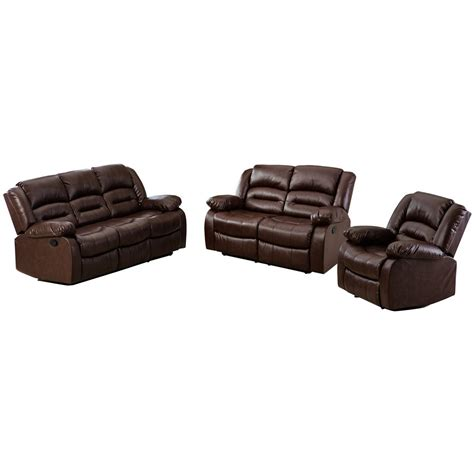 Leather Recliner Sofa Sets Nora Brown Leather Reclining 3 Pc Living Room Sofa Set Refil Sofa