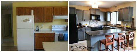 Painted Oak Kitchen Cabinets Chelsea Gray With Gentle Painting Oak Kitchen Cabinets White Before And After
