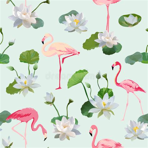 Flamingo Bird Retro Backgroundz flamingo bird and waterlily flowers background retro
